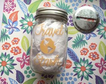 Money Jar, Travel Stash, Coin Jar, cruise fund, cruise jar, vacation fund, vacation, travel jar, summer, piggy bank, savings jar, money bank