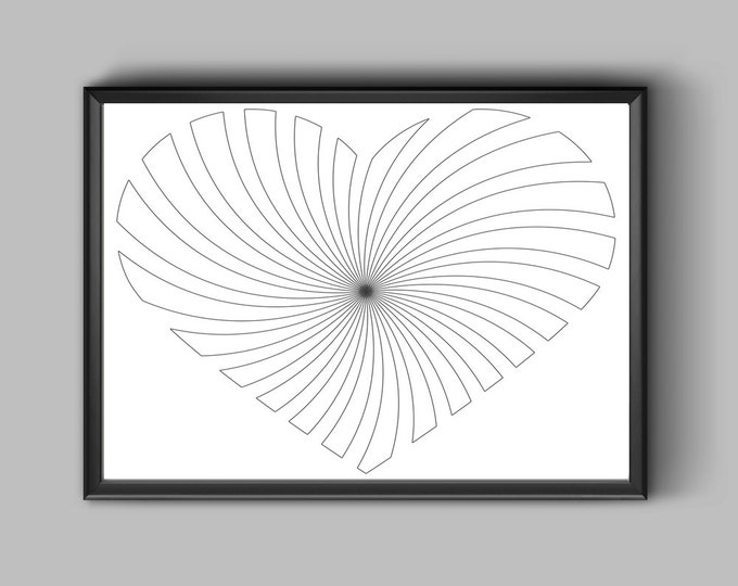 Digital HeartIllustration, Coloring Page PDF Download, Wall Art Coloring, Grown Ups Coloring, Heart Coloring Sheet, Spiral Heart