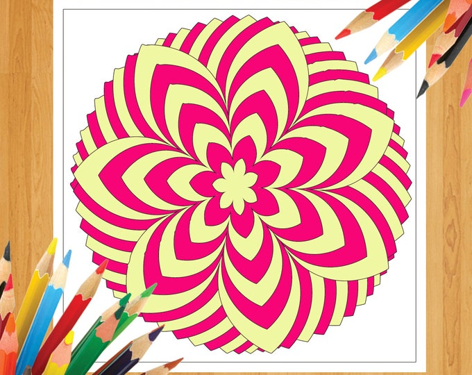 Adult Coloring In, Coloring Picture, Spiral Coloring, Doodle Coloring, Flower Clipart, Flower Artwork, Flower Printable