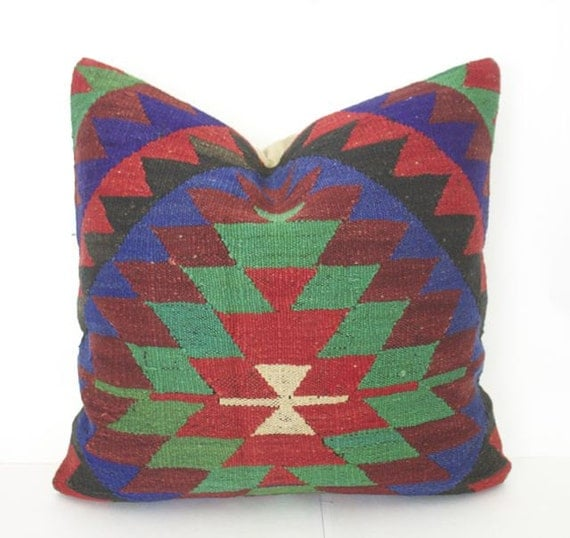 Turkish Kilim Floor Pillow : 20x20 Handmade Kilim Floor Cushion Bohemian Pillow Turkish