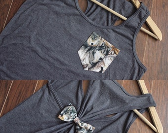 Wolf Women Pocket Bow Tank Top