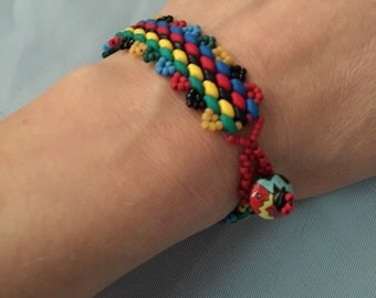 Handmade Multi Colored Bead Bracelet