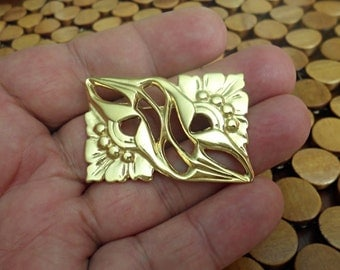 Estate Vintage Beautiful Gold Tone Rectangle Brooch/Y5