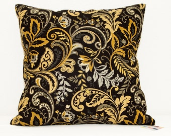 Black and Gold Pillow Cover, Pillow Cover with Gray and Gold Print on Black, Black Pillow Cover with Gold and Gray Leaf Print