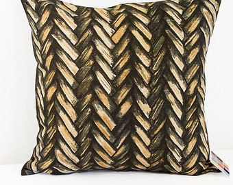 Tan and Black Pillow Cover in Braided Print, Linen and Cotton Blend Pillow Cover in Bold Neutrals