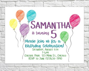 Balloon Birthday Invites, Birthday Invitations, Kid's Birthday Invite, Printable Party Invitations, Birthday Party Balloons