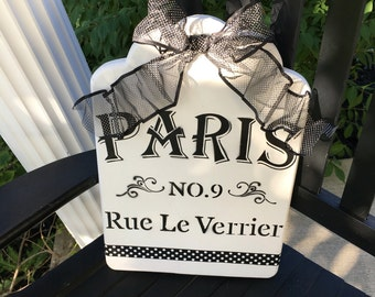Paris sign black and white shabby chic
