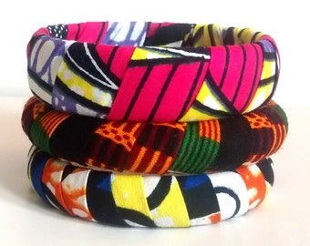 African Fabric Bangle Set