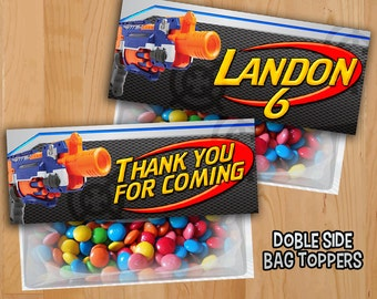 Nerf Favor Bag Toppers - PERSONALIZED - Nerf War Treat Bag Topper - Nerf War Gun Party Invite Printable - Nerf Birthday Party