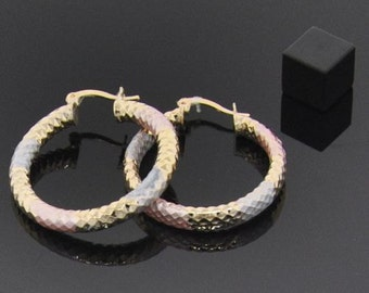 Large 18K Gold Filled Hoops - Tri Color - Lasts for YEARS