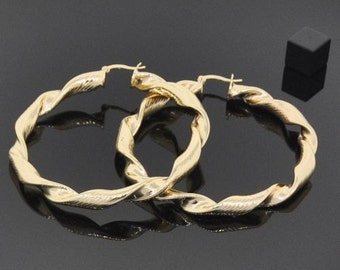 Large 18K Gold Filled Hoops - Twisty - Lasts for YEARS