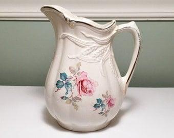 Vintage Royal Crownford Ironstone Wheat Pitcher, Vase, Jug, by Arthur Wood, England
