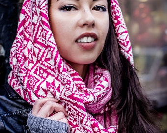 Pink, printed, infinity (SMASH) hoodie scarf--Jordan Terra/Clash Catalysts/A Scarf Collection