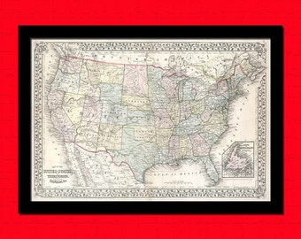 Old Map of the USA 1867 Ancient Old Map Print Antique Map Usa Antique Posters Old  United States America