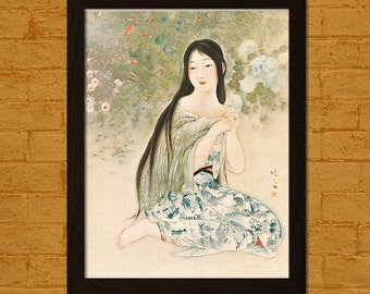 Printed on textured bamboo Art paper - Japanese Art Print The Time When Hydrangeas Bloom 1921Kiyokata Ukiyo-e Poster  Oriental Asian Art