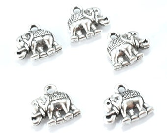 12x14mm Antique Silver Alloy Elephant Pendant Charm 14pcs/PK, 2mm loop size, 4mm charm thickness