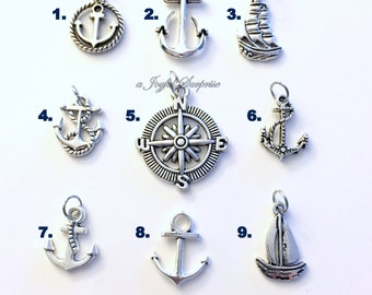 Marine Anchor Charm Add on to any listings 1 single Pendant silver Rope Anchor Sailboat Mariner's Compass Sail Boat Rutter Ship Wheel