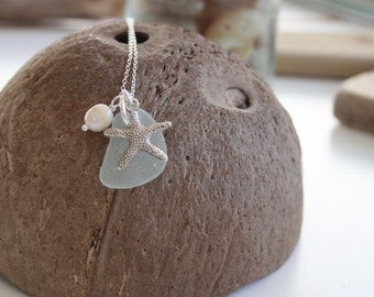 Starfish Cluster Necklace, Starfish Necklace, Starfish Charm, Sea Glass Necklace, Sea Glass Jewellery, Freshwater Pearl Necklace, Sea Glass