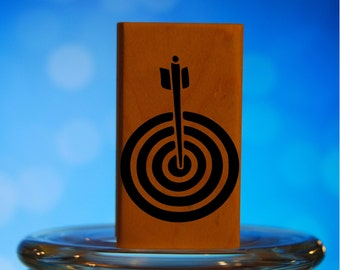 Archery Target Rubber Stamp Mounted Wood Block Art Stamp
