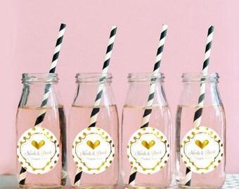 24 Personalized Metallic Foil Milk Bottles - Wedding - Engagement - Bridal Shower - 24 pieces