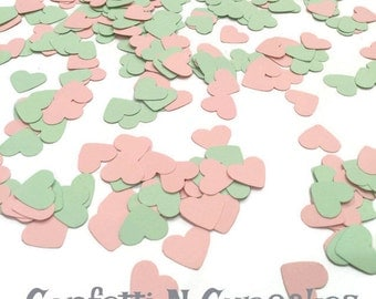 Heart Confetti/pink and mint hearts/paper confetti/Bachlorette party/wedding reception/table scatter/party decor/baby shower supplies/