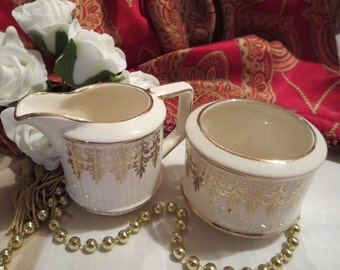 Gorgeous Vintage Sadler England - Open Sugar Bowl and Creamer
