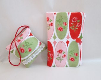 Pincushion and needle book red roses