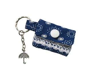Key chain mini purse blue print for lunch money
