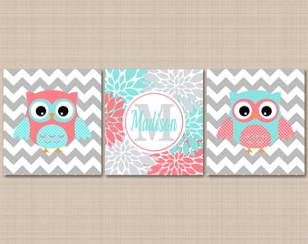 Coral Teal Nursery Wall Art,Owl Nursery Wall Art,Coral Aqua Nursery Wall Art,Coral Owl,Teal Owl,Owl Floral Nursery-UNFRAMED Set of 3 C212