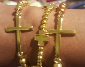 Cross 3 piece Beaded bracelet