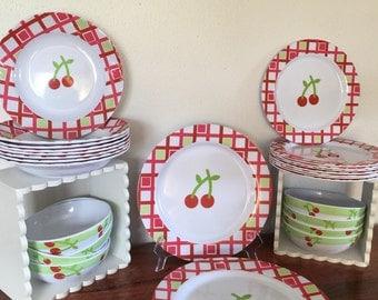 Vintage Cherry Blossom Dish Set