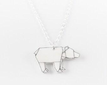 Small origami polar bear chain