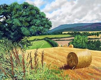 Hay Bales, Kilburn, North Yorkshire,Limited Edition Print from an original ipad drawing