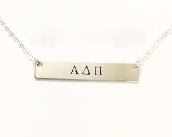 Personalized Greek Letter Stamp necklace