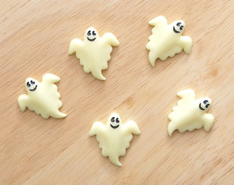 Laughing Ghost 28mm x 29mm Flatback Cabochon Deco Resin Embellishments Scrapbooking Craft DIY Halloween - 1/5/20pcs