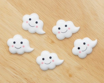 Smile Cloud (with Tail) 26mm x 36mm Flatback Cabochon Deco Resin Embellishments Scrapbooking Craft DIY - 1/5/20pcs
