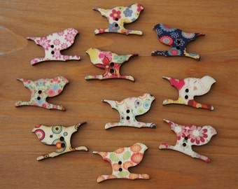 Bird and Branch Motif Wood Buttons 2 Holes - Multicolor Patterns 19mm x 28mm - Children Deco Beads Scrapbook Sewing Craft DIY