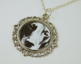 Dog dog face necklace on silver link chain necklace jewelry Black and white dog vintage retro dogs face