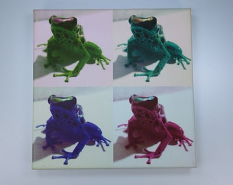 PopArt frog - frogs - original art print on canvas piece in colourful 20 x 20 cm