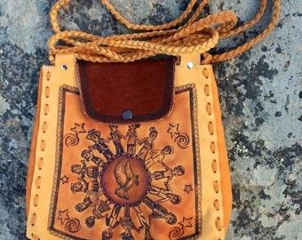 Handmade Leather Handbag. World Peace Bag.