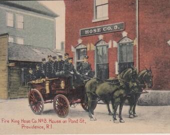 Providence, Rhode Island Vintage Postcard - Fire King House Co. No. 3 House on Pond Street