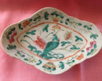 Antique Chinese Famille Rose Offering Dish Hand-painted Decorations Waterlilies Dragonfly Peaches Bats Tongzhi Period Chi'ng Dynasty 19th c