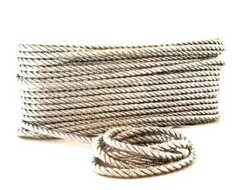 Metallic Silver Cord / Metallic Cord / Silver Cording / 1/4 Silver Twist Rope / Silver Twisted Rope / Silver Cording / Cording by the Yard