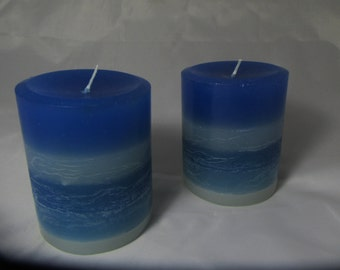 Hand poured candle, ocean Set of 2