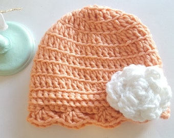 Signature White Rose Crochet Hat - Newborn, Baby, Child's, Photography Prop, Girl, Rose, Garden, Bonnet, Ruffle, Peach