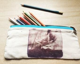 "Pencil Case / Pouch ""Surviving"" Brown Ink, Aqua Zip"