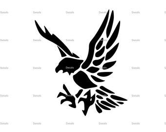 Flying Hawk Vinyl Decal - Hawk Decal - Laptop Sticker - Laptop Decal - Hawk Car Decal - Hawk Wall Decal - Hawk Wall Art - Hawk Vinyl Sticker