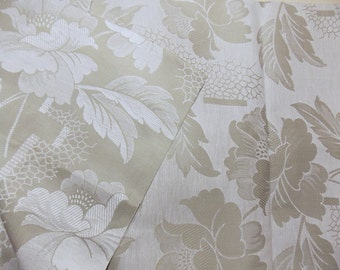 Old cotton ticking coupon thick white flowers on beige grey