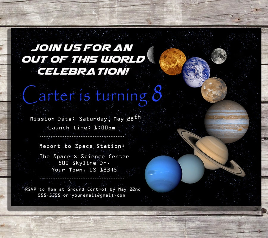 Planet birthday invitation outer space birthday by for Space themed stationery