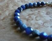 Delicate Sodalite & Citrine Semi-Precious Stone Beaded Bracelet w/ Silver Chain (plated) 4-6mm Gemstones Simple Minimal Style Design